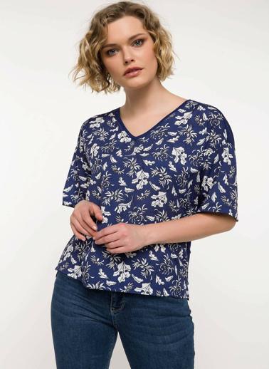 DeFacto Kısa Kollu Desenli Bluz Mavi